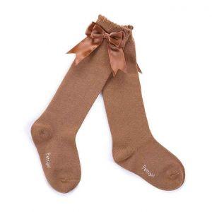 Girls Camel Socks With Handmade Bow-knot