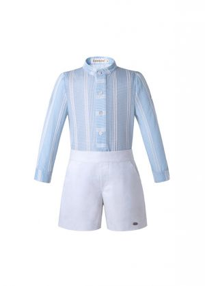 Light Blue Stripe Stand Collar Boy Clothing Set + White Shorts