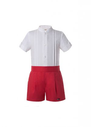 2 Pieces Babies Boutique Boys Kids Clothing Summer Outfit White Shirt + Red Shorts