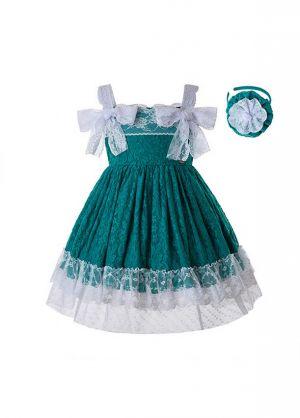 Girl Green Lace Sling Dress + Handmade Headband