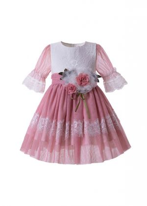 Girl Pink Rose Flower Mesh Communion Pageant Dress