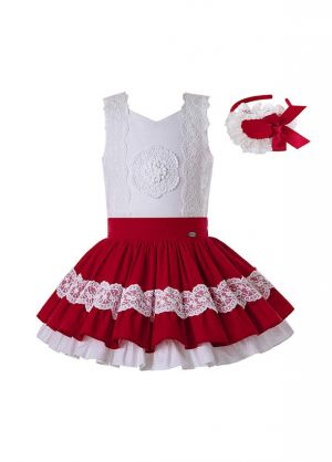 (Only Size 10&12Y) 2020 Summer Girls Clothing Set Red Lace Shirt + Red Princess Skirt +Hand Headband