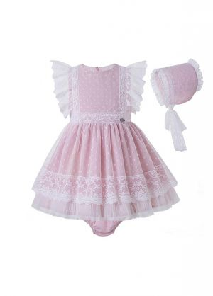 3 Pieces Babies Sweet Solid Pink Ruffled Boutique Outfits + Cute Bloomers + Hat
