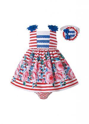 Red White Striped Baby Summer Dress + Handmade Headband