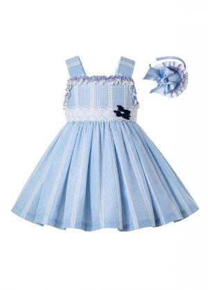 Light Blue Summer Girls Ruffles Girls Boutique Dress + Hand Headband