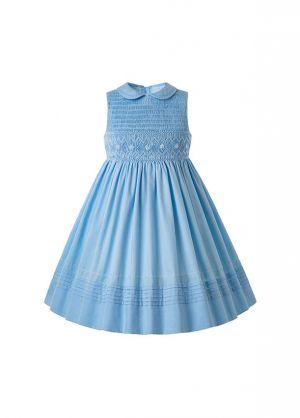 2020 Vintage Blue Ruffled Turn-down Collar Smoked Dress