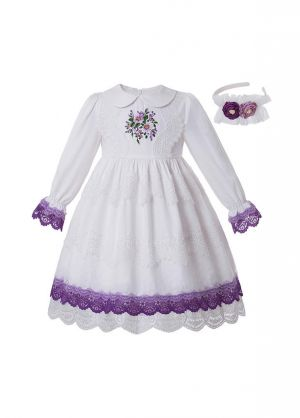 White GirlsEmbroidered Flower Turn-down Collar Vintage Princess Dress + Hand Headband
