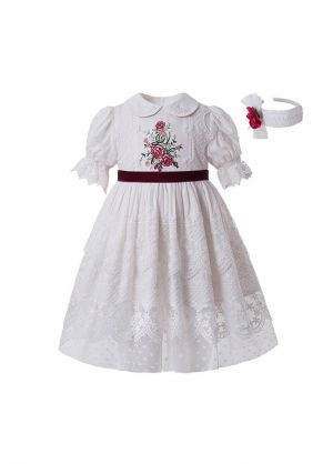 Summer White Embroidered Lace Ruffled Vintage Dress + Hand Headband