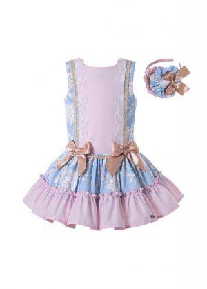 Pink Girls Ribbons Bows Print Boutique Princess Dress + Hand Headband