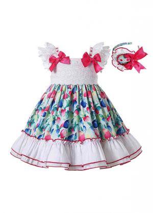 Colorful Girls Ruffle Dress + Handmade Headband