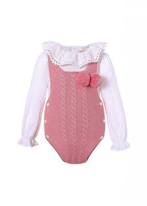 Dark Pink 2 Piece baby Pom Pom Baby Sweater Romper + Long Sleeves Shirt