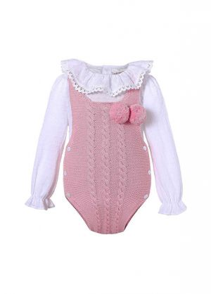 Cute Pink 2 Piece Baby Sweater Romper + England Style Ruffle Shirt