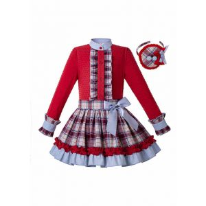 3 Pieces Girl Autumn Red Cut-Flower Cotton Top + Plaid Ruffle Skirt + Handmade Headband