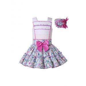 Summer Sweet Girls Ruffle Layers Dress Floral Pattern with purple trim + Headband