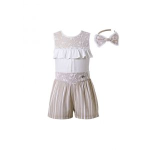 3 Pieces Boutique Casual Khaki Ruffles Boutique Girls Outfit + Khaki Striped Shorts + Hand Headband