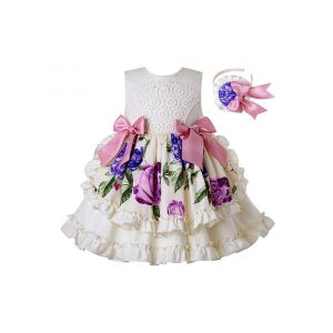 2020 Summer White Flowers Pattern Printed With Bows Girls Dress +Hand Headband