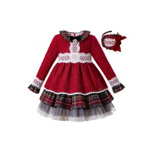 2019 Bling Christmas Party Bow Boutique Autumn Girls Dress + Hand Headband