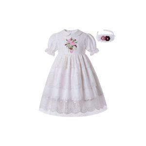 White Lace Embroidered Flower Bow Princess Dress + Hand Headband