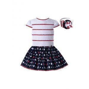Girls Dress White Top with Red Stripe Black Floral Print Skirt + Headband