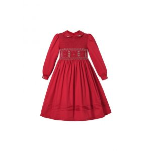 (Pre-order products) Christmas Vintage Red Girl Cute handmade Embroidered Smocked Dress