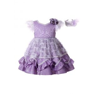 Purple Noble Ruffle Printed Flower Feather Ornament Princess Dress + Handmade Headband