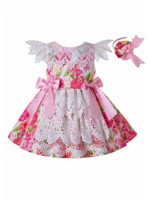 (ONLY 3Y 5Y) New Princess Flower With Pink Bows Summer Lace Girl Dress + Handmade Headband