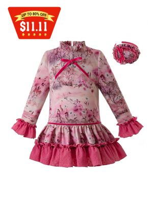 (Only 3Y-12Y) Rose Red Flower Printed Girl Dress With Headwear