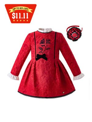 (Only 2Y 4Y 5Y 6Y 8Y)  New Red Long Sleeve Dress With Bow + Headband