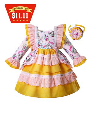 (Only 4Y )Easter Flower Bunny Pattern Yellow Girl Dress With Bows + Handmade Headband