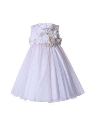 Girls Shiny Embroidery Fower Party Dress