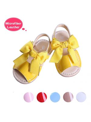 Yellow Cute Girls Sandals Shoes With Handmade Bow-knot