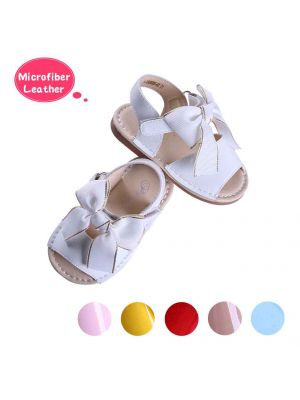 White Cute Girls Sandals Shoes With Handmade Bow-knot