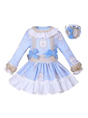 Blue Flower Girls Dress