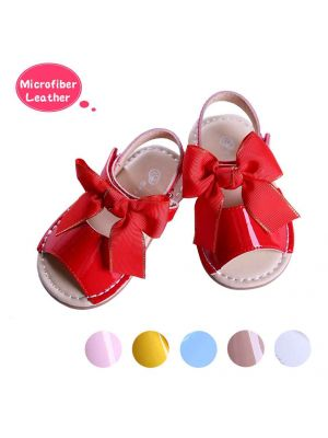 Red Cute Girls Sandals Shoes With Handmade Bow-knot