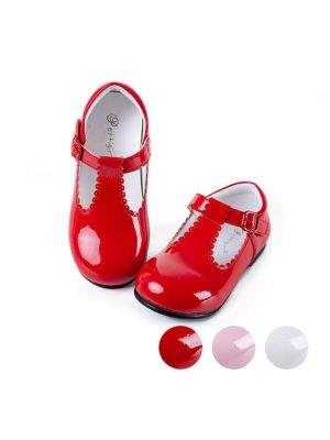 Red New Design Microfiber Leather Handmade Girls Shoes