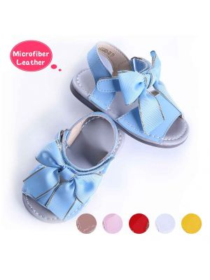 Blue Cute Girls Sandals Shoes With Handmade Bow-knot