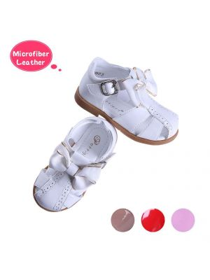 White Fashion Microfiber Leather Girls Sandals Shoes With Handmade Bow-knot