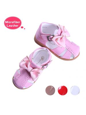 Pink Fashion Microfiber Leather Girls Sandals Shoes With Handmade Bow-knot