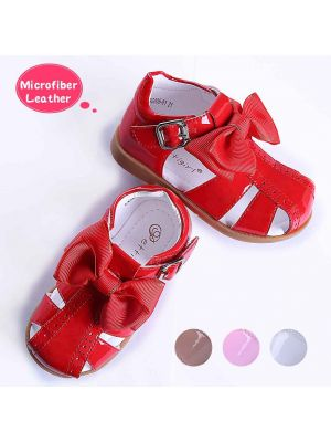 Red Fashion Microfiber Leather Girls Sandals Shoes With Handmade Bow-knot