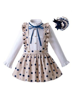 Baby Girls Long Sleeve White Blouse With Blue Dot Khaki Skirt