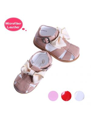 Camel Fashion Microfiber Leather Girls Sandals Shoes With Handmade Bow-knot