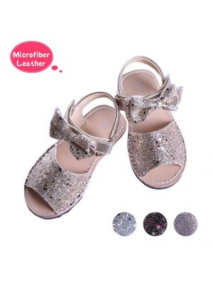 Golden Glitter Sequin Girls Party Shoes With Handmade Bow-knot