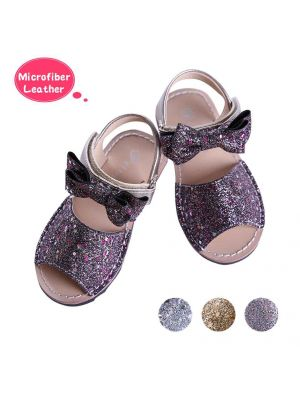 Purple Glitter Sequin Girls Party Shoes With Handmade Bow-knot