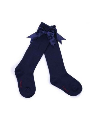 Girls Navy Blue Socks With Handmade Bow-knot