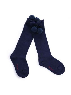 Girls Navy Blue Pom Pom Socks
