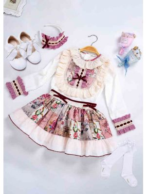 5 pcs Matching Sets Flower Printed Clothing Sets + Handmade Headband + Shoes + Socks