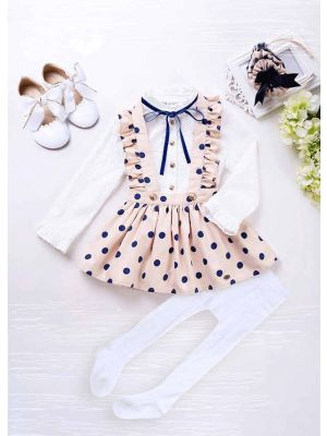 5 pcs Matching Sets Long Sleeve White Blouse With Blue Dot Khaki Skirt + Handmade Headband + Shoes + Socks