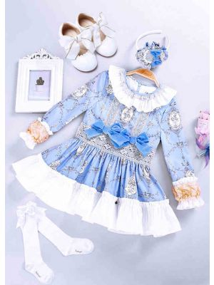 4 pcs Matching Sets Blue Flower Printed Dress + Handmade Headband + Shoes + Socks
