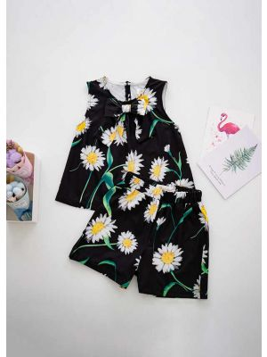 Girls Summer Clothing Sets Chrysanthemum