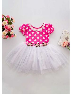 Summer Flower Pink Dots Girl Dress